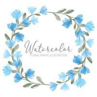 akvarell söt blå vildblommig blommig cirkelkrans