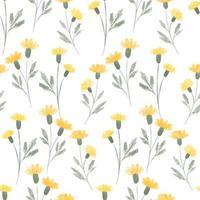 akvarell söt gul vildblomma sömlösa mönster