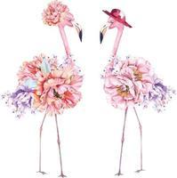 rosa Flamingo mit Aquarell gemalt vektor