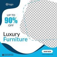 lyxiga möbler försäljning banner för sociala medier vektor