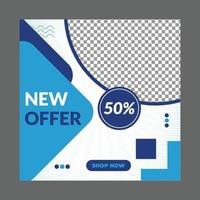 blaue Social Media Post Design Vorlage vektor