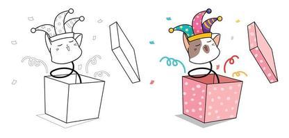 söt jester katt huvud på våren i presentask tecknad målarbok vektor