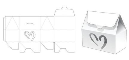 hus låda med hjärtformade fönstret mall