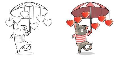 söt katt håller paraply tecknad målarbok vektor