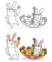 kaninkatter och morötter tecknad målarbok vektor
