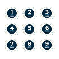 Countdown für Tage Banner. Zeit zählen Verkauf. Noch neun, acht, sieben, sechs, fünf, vier, drei, zwei, noch ein Tag. vektor