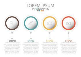 Infografik-Vorlage in vier Schritten, Vorlage für Diagramm, Grafik, Präsentation und Diagramm. vektor