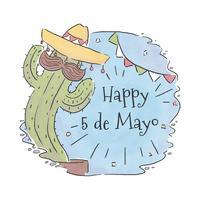 Kaktus-Charakter mit Schnurrbart und Flaggen