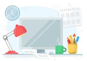 Schreibtisch-Illustration des Vektor-Designers vektor