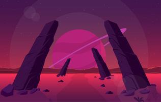 vektor fantasi landskap illustration