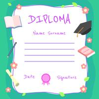 Girly Kindergarten Diplom Zertifikat Vektor