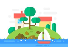 Flache Insel mit Häusern