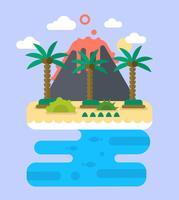platt tropisk ö