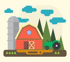 Flache Bauernhoflandschaft vektor
