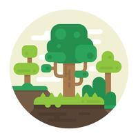 Flache Illustration mit Bäumen