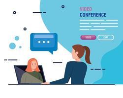unga kvinnor i en videokonferens via bärbar dator vektor