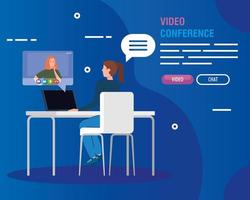 unga kvinnor i en videokonferens vektor