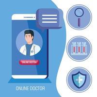 läkare på smartphonen, online medicin koncept med medicinska ikoner