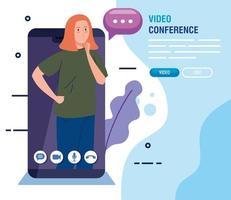junge Frau in einer Videokonferenz über Smartphone vektor