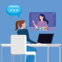 kvinnor i en videokonferens via laptop