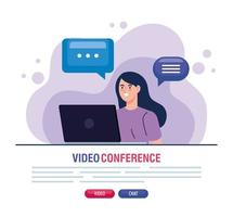 ung kvinna i en videokonferens via bärbar dator vektor