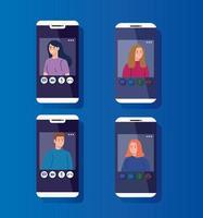 ungdomar i en videokonferens via smartphones vektor