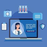 läkare på den bärbara datorn, online medicin koncept med medicinska ikoner