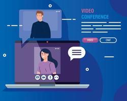 par i en videokonferens via bärbar dator