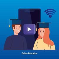 online utbildningsteknik med människor och smartphone vektor