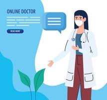 online medicinbanderoll med läkare som bär en ansiktsmask vektor