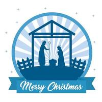 god jul och julkrubba med mary, joseph och baby jesus vektor