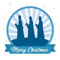 Frohe Weihnachten und Krippe mit den drei Magiern vektor