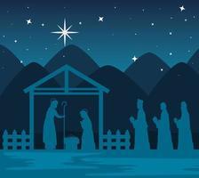 Frohe Weihnachten und Geburt Christi mit Mary, Joseph und Baby Jesus und den drei Magiern