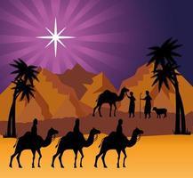 Frohe Weihnachten und Krippe mit den drei Magiern auf Kamelen vektor