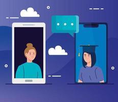 online utbildningsteknik med kvinnor och smartphones vektor