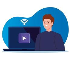 Online-Bildungstechnologie mit Mann und Laptop