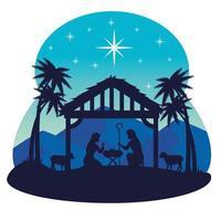 Frohe Weihnachten und Krippe mit Mary, Joseph und Baby Jesus