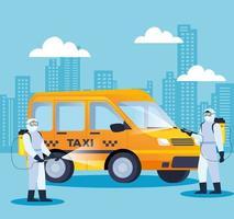 Taxi wird während der Coronavirus-Pandemie desinfiziert vektor