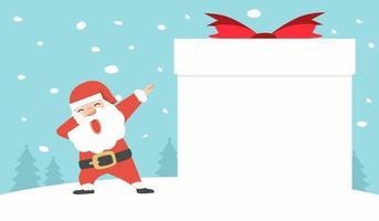 Weihnachtsmann tupft Tanz mit leerem Zeichen Geschenkbox vektor