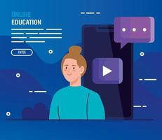 online-utbildningsteknik med kvinna och smartphone vektor
