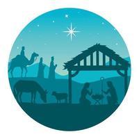 Frohe Weihnachten und Geburt Christi mit Mary, Joseph, Baby Jesus und den drei Magiern