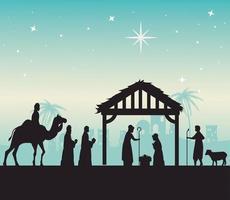 Frohe Weihnachten und Geburt Christi mit Mary, Joseph, Baby Jesus und den drei Magiern vektor