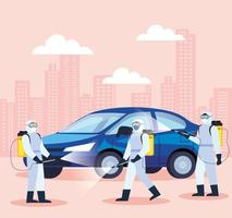 Auto wird während der Coronavirus-Pandemie desinfiziert vektor