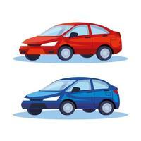 sedanbilar fordon transport ikoner vektor