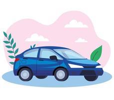 blå sedan bil fordon transport ikon vektor