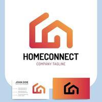 hemanslutning eller smart hus ikon och visitkort