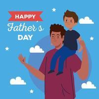 lycklig fäder dag gratulationskort med pappa som bär sin son