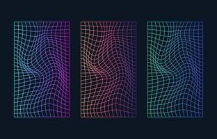 rutnät cyberpunk bakgrundsstil uppsättning vektor
