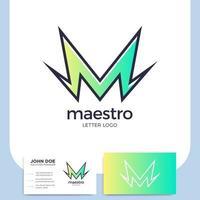 Bolzenbuchstabe m Logo und Visitenkarte vektor