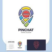 Standort-Pin mit Karte und Chat-Symbol und Visitenkarte